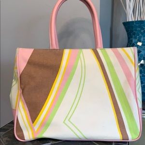 Furla Tote, Multicolor with Pink leather handle